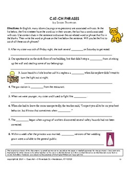 Vocabulary Activities: Idioms Related to Cats (3 Pages, Answer Key, Gr. 6+, $2)