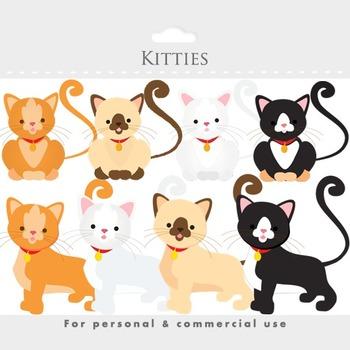 Cat clipart - kittens, kitties, kittycats, white, brown, siamese, animal clipart