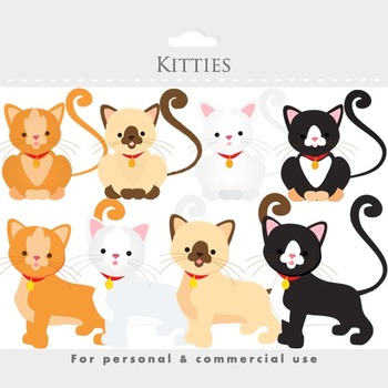 Cat clipart - kittens, kitties, kittycats, white, brown, siamese, animal clipart
