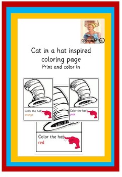 Cat in a hat inspired coloring page