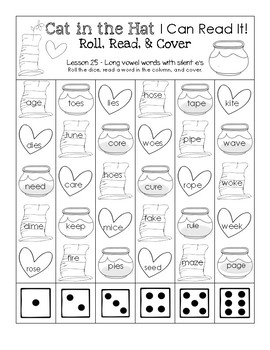 Cat in the Hat I Can Read It! Roll, Read, and Cover (Lesson 25)