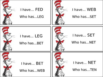 Cat in the Hat I Have Who Has Short E