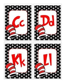 Cat in the Hat Inspired Word Wall Cards
