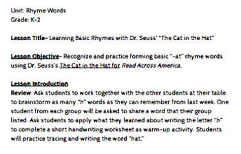 Cat in the Hat Lesson Plan/Materials- Rhyme