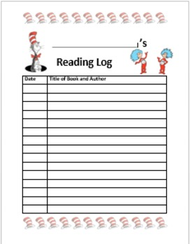Cat in the Hat Reading Log