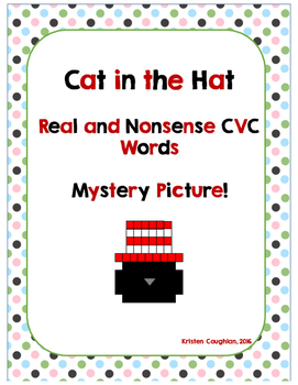 Cat in the Hat Real and Nonsense CVC Words Mystery Picture - Freebie!