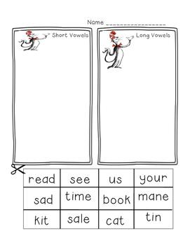 Dr. Seuss Week Short Vowel and Long Vowel Matching