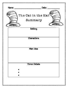 Cat in the Hat Summary Graphic Organizer