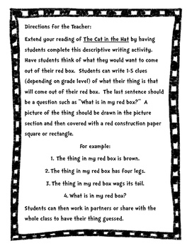 """Cat in the Hat:  """"What's in My Red Box?""""  Writing"""