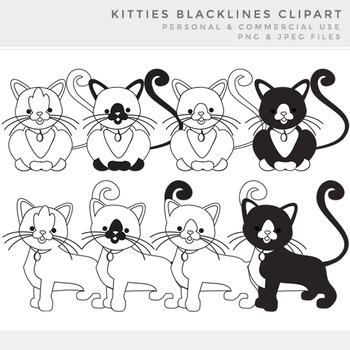Cat lineart clipart - blacklines kittens kitties black lin