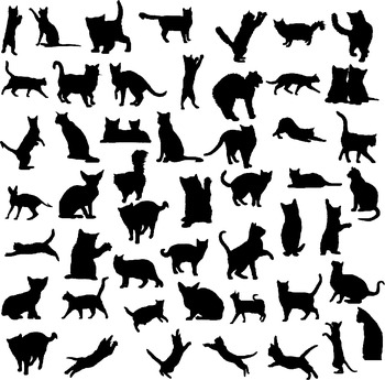 Cat silhouette digital clipart