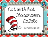 Cat with hat Classroom Supply lables Growing Set