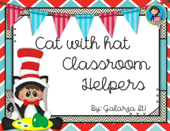 Cat with hat classroom helper job cards (76 jobs in 2 sizes cards)