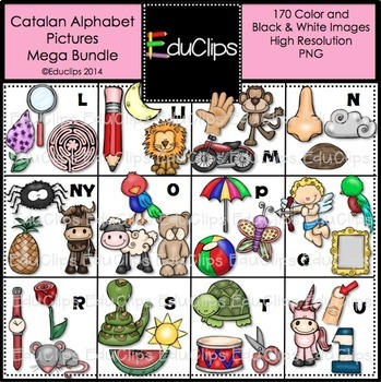 Catalan Alphabet Clip Art Mega Bundle {Educlips Clipart}