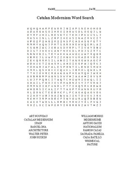 Catalan Modernism Word Search