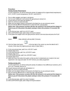 Catalase Optimal Temperature and pH Lab
