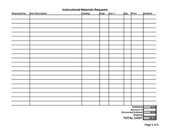 Catalog / Instructional Materials Request Form