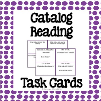 Catalog Reading Task Cards
