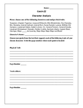 Catch-22 Character Analysis Activity - Joseph Heller