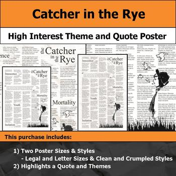 Catcher in the Rye - Visual Theme and Quote Poster for Bulletin Boards