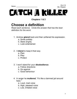 Catch A Killer Novel Study - Chapters 1 & 2