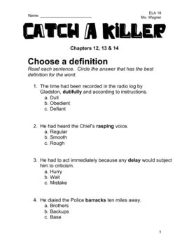 Catch A Killer Novel Study - Chapters 12, 13 & 14