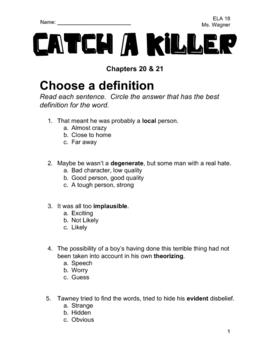 Catch A Killer Novel Study - Chapters 20 & 21