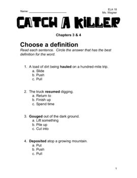 Catch A Killer Novel Study - Chapters 3 & 4