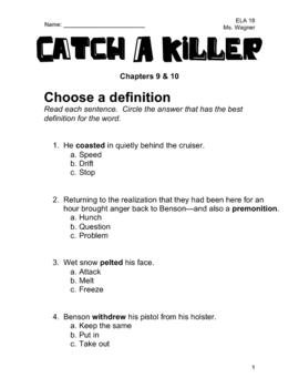 Catch A Killer Novel Study - Chapters 9 & 10