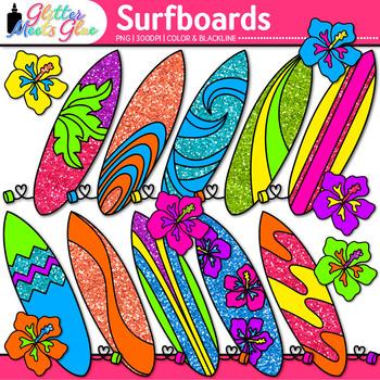 Glitter Surfboard Clip Art {Summer Beach Graphics for Classroom Decor}