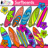 Glitter Surfboard Clip Art: Summer Graphics {Glitter Meets Glue}