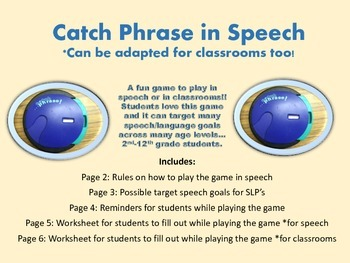 Catch Phrase Game to Play in Speech or Classroom Game