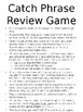 Catch Phrase Review Game EDITABLE
