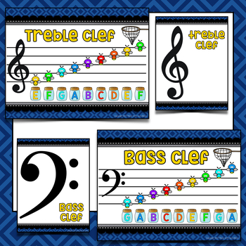 Catch Yourself in Music Reading- Lines and Spaces Bulletin Board Set