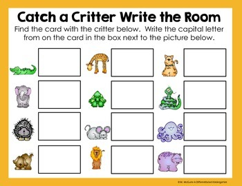 Catch a Critter Write the Room Freebie-Differentiated and Aligned