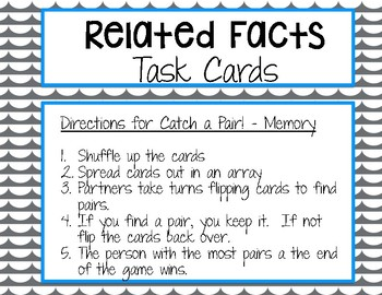 Catch a Pair! Related Facts Task Cards- Multiplication and Division