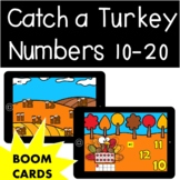 Thanksgiving Math Catch a Turkey Numbers 10-20 Boom Cards