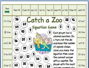 Catch a Zoo Equation Game for Third through Fifth Grade