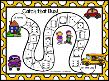 Catch that Bus!  A Subitizing Back to School NO PREP Board Game