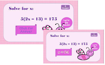 Catch the Bug Interactive Game Solving Linear Equations (6 Types) PREP FREE
