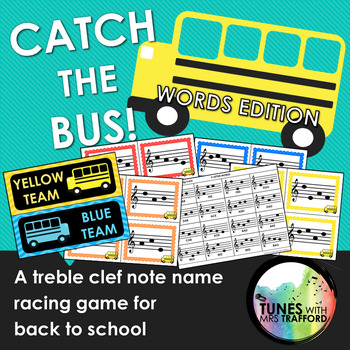 Catch the Bus: Treble Clef Note Name Racing Game for Back to School WORD EDITION