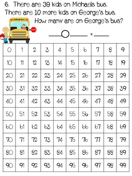 Catch the Bus with Hundreds Charts & Word Problems