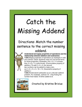 Catch the Missing Addend to Ten