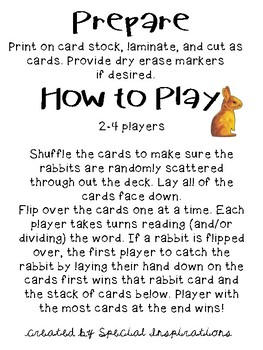 Snatch the Rabbit! (a VC/CV Rabbit Words Game) Orton-Gillingham Inspired