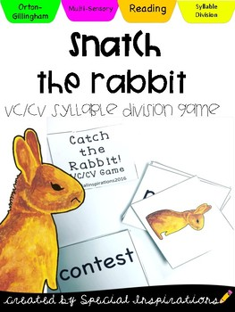 Catch the Rabbit! (a VC/CV Rabbit Words Game) Orton-Gillin