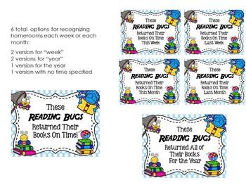 Catch the Reading Bug Book Return Reward Bulletin Board Set