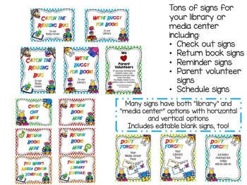 Catch the Reading Bug Library/Media Center Pack {with Editable Passes and Signs}