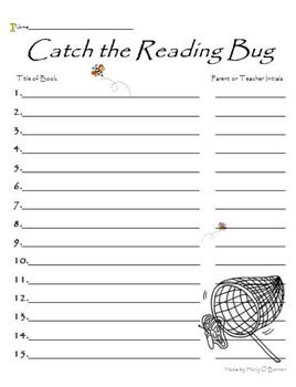 """""""Catch the Reading Bug"""" Reading Log"""