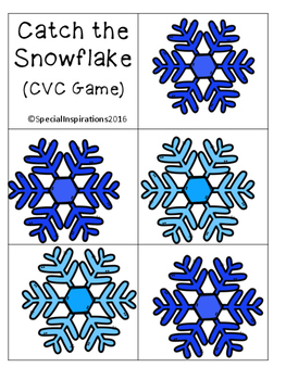Catch the Snowflake!! CVC Game Orton-Gillingham Inspired