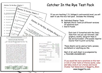 Catcher In the Rye Test Pack